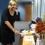 Dawn Brown cuts thhe cake