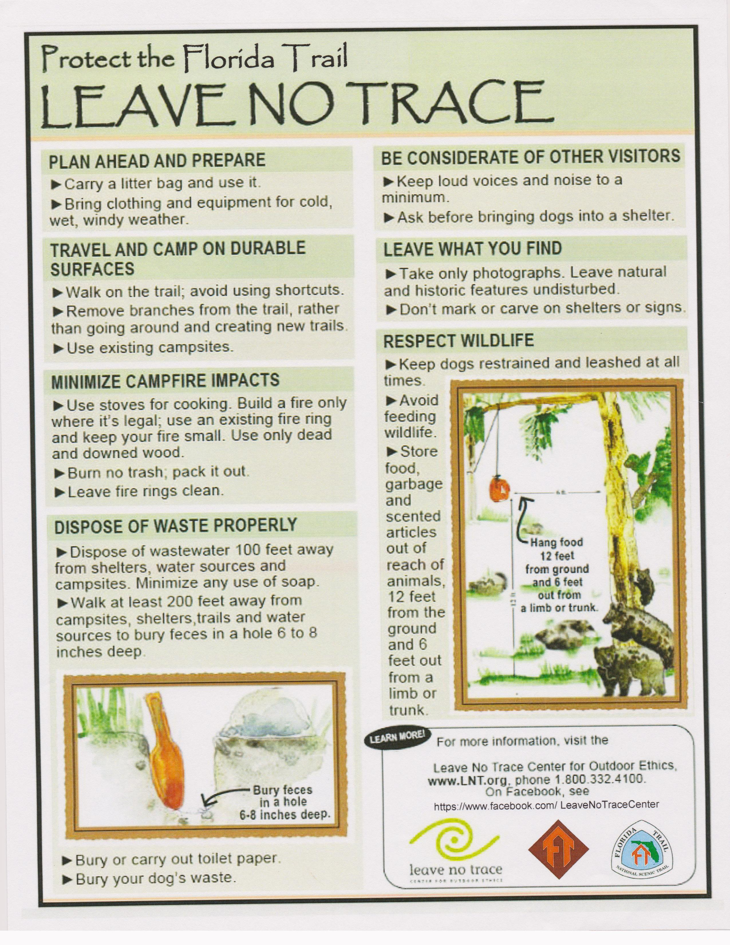 leave no trace coloring page - apalachee chapter hiking backpacking 101